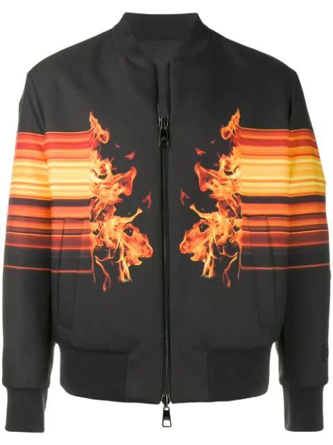 Neil Barrett Reversible Fire Graphic Print Bomber Jacket In 01 Black