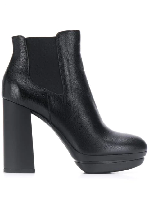 Hogan Chunky Heel Ankle Boots In Black