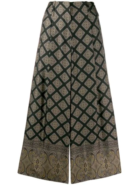 Etro Cropped Printed Trousers In Black