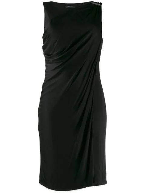 Versace Buckle Detail Draped Dress In Black