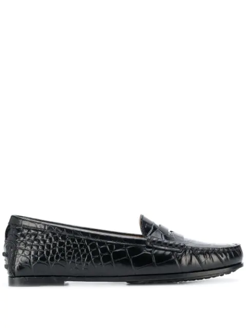Tod's Loafers In Crocodile Print Leather In Black