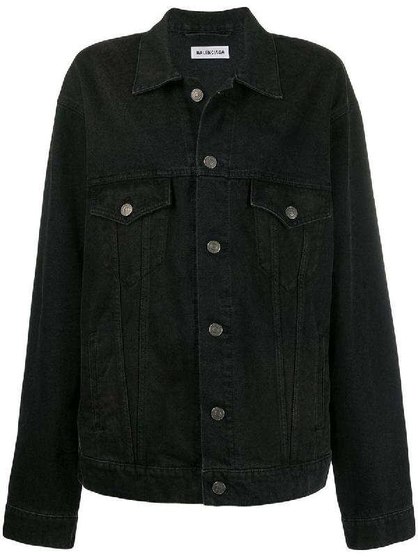 Balenciaga Contrasting Logo Denim Jacket