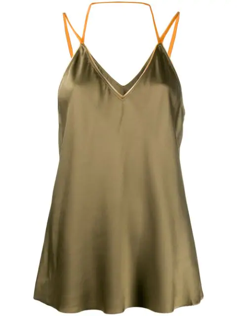 Helmut Lang Flared Camisole Top In Green