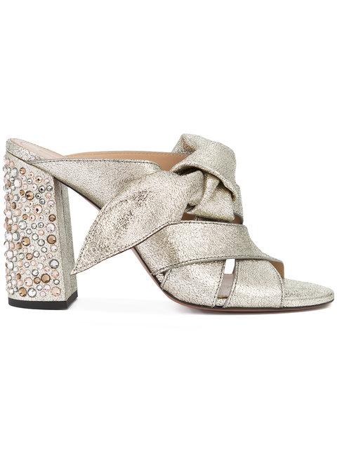 b954c899c62 ChloÉ Nellie Bow Metallic Leather   Crystal Block Heel Slides In Grey