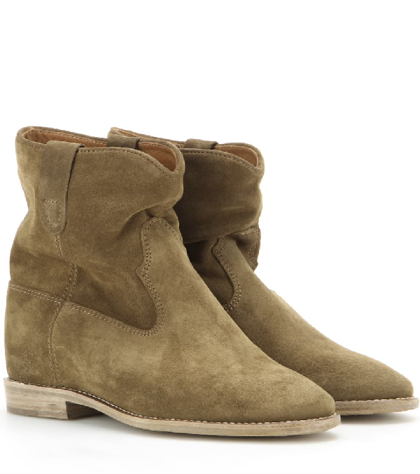 Isabel Marant Crisi Suede Concealed Wedge Ankle Boots In Brown