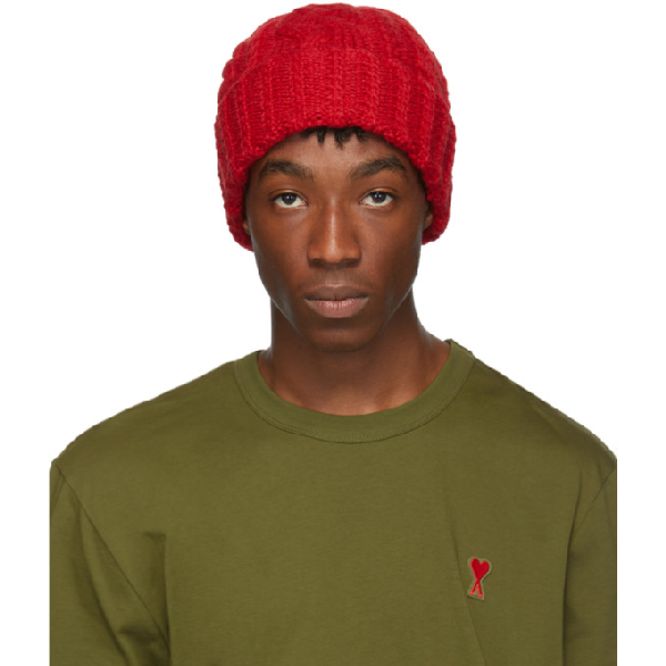Ami Alexandre Mattiussi Cable Knit Beanie In 600 Rouge