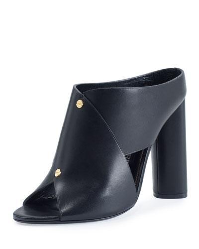 Tom Ford Studded Leather 105Mm Mule Sandal, Black