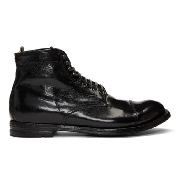 Officine Creative Black Anatomia 16 Boots In Nero