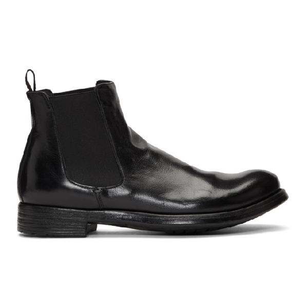 Officine Creative Black Hive 007 Chelsea Boots In Nero Black
