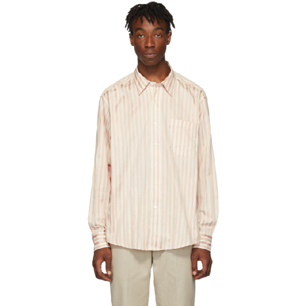 Ami Alexandre Mattiussi Classic-wide Fit Shirt With Chest Pocket In 106 Whtpnk