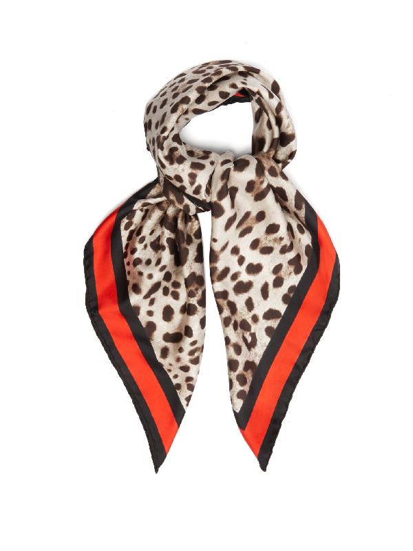 Dolce & Gabbana Leopard-print Silk-twill Scarf