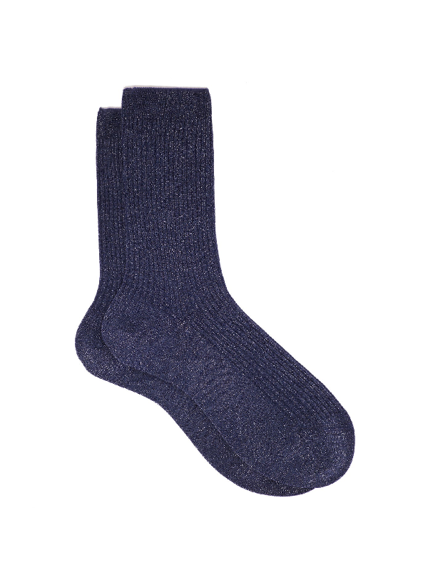 Falke Metallic Ribbed-knit Ankle Socks In Navy