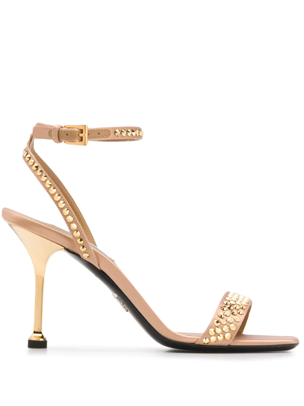 Prada Crystal-embellished Leather Sandals In Gold