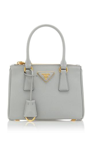 Prada Leather Top Handle Bag In Grey
