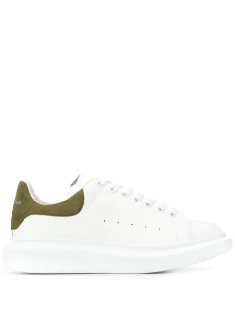 Alexander Mcqueen Low-Top Sneakers Larry  Calfskin Suede Logo Khaki White