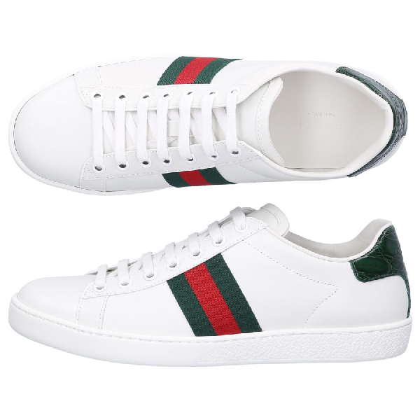 Gucci Low-Top Sneakers New Ace Sneaker Calfskin Striped Green Red White