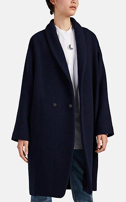 Pas De Calais Wool-Blend Cocoon Coat In Navy