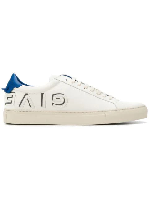 Givenchy White And Blue Urban Street Logo Applique Leather Sneakers In 145 White Elec Blue