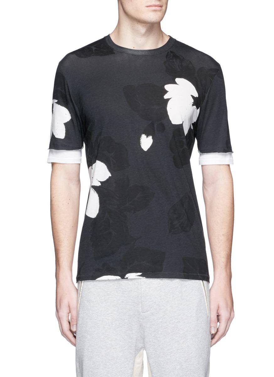 3.1 Phillip Lim Floral Print Double Sleeve Cotton T-Shirt