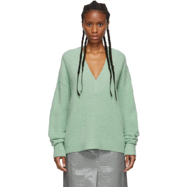 Tibi Airy Alpaca V-neck Pullover With Arm Band Cuffs In Green-lt