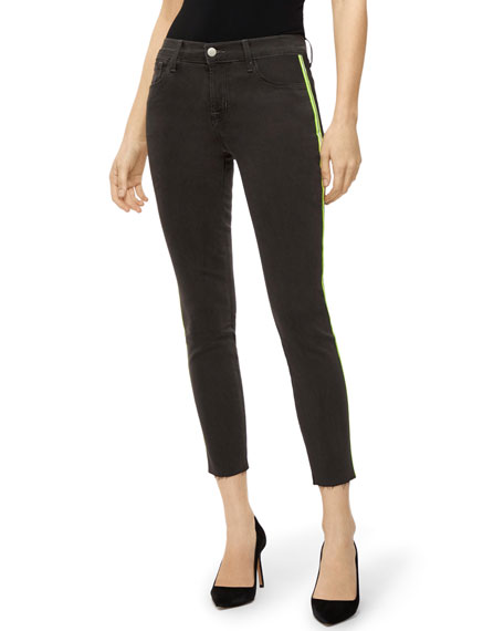 J Brand 835 Mid-Rise Crop Skinny With Neon Stripes In Epitome