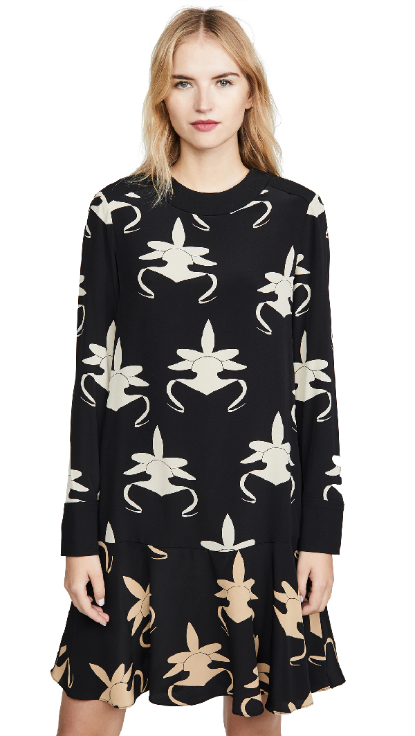 Tibi Ghost Orchid Printed Drop-waist Dress In Black/ivory/tan Multi