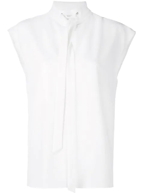 Tibi Structured Crepe Sleeveless Tie-Neck Top In White