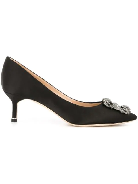 Manolo Blahnik Hangisi 50 Swarovski Crystal-Embellished Satin Pumps In Black