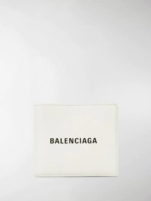 Balenciaga White Logo-Print Leather Wallet