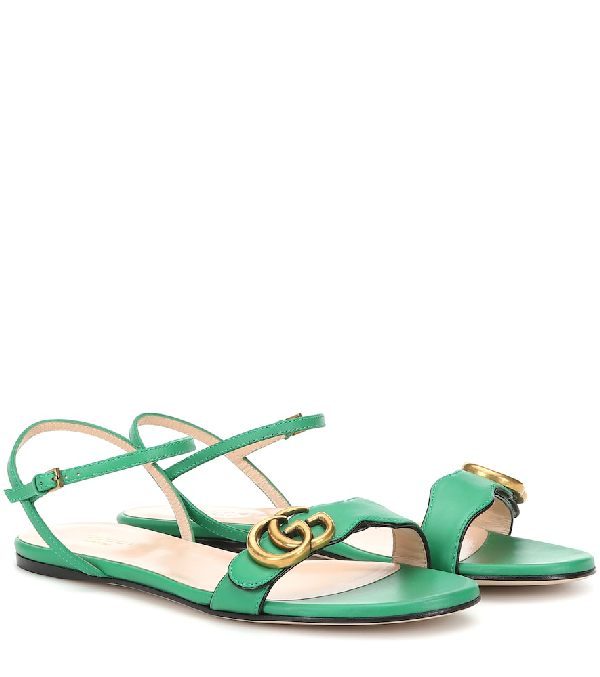 Gucci Marmont Green Leather Sandals