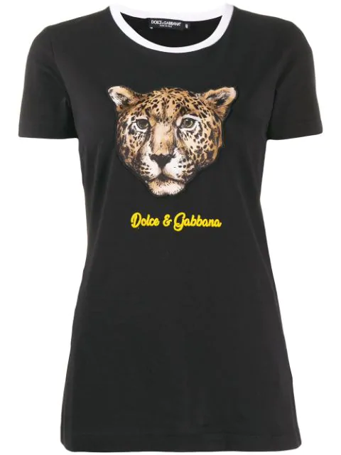 Dolce & Gabbana T-shirt With Leopard Patch In Black