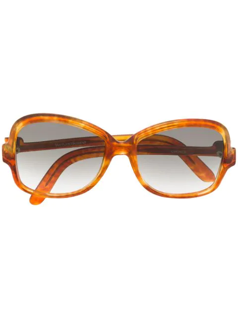 Saint Laurent 1970's Square Gradient Sunglasses In Orange