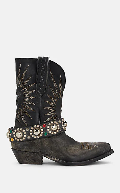 Golden Goose Wish Star Distressed Leather Ankle Boots In Black