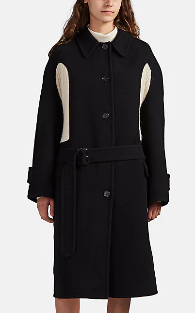 Jw Anderson Wool-Cashmere Sweater-Inset Coat In Black