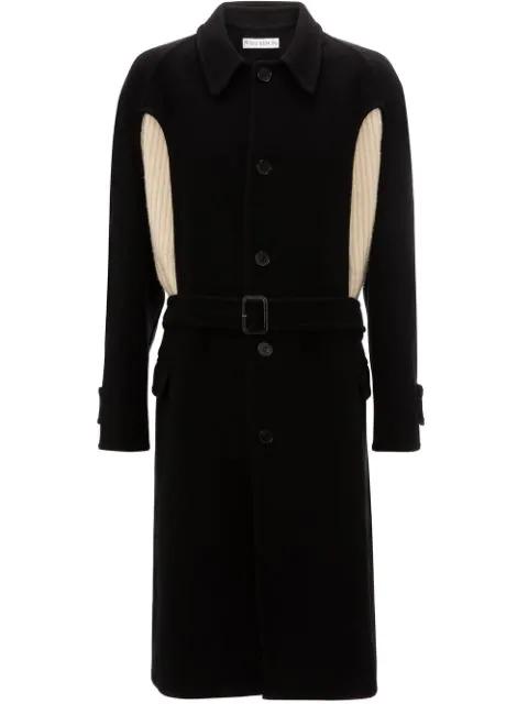 Jw Anderson Knit Insert Wool Coat In Black