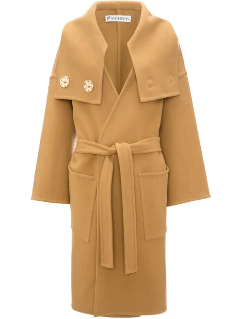 Jw Anderson Wrap Coat With Oversized Collar In Brown