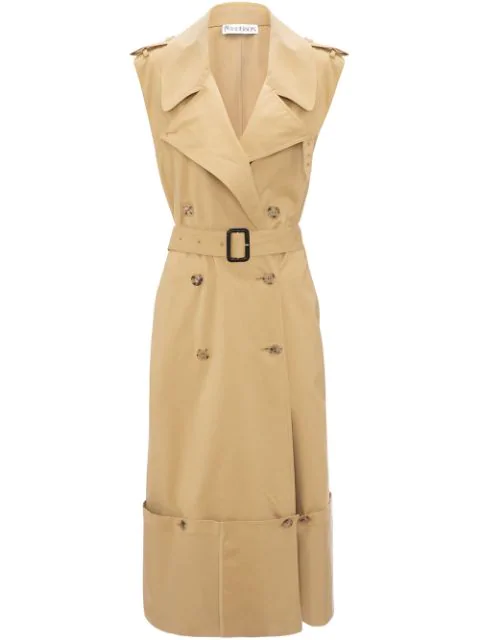 Jw Anderson Fold Up Hem Sleeveless Trench Coat In Neutrals
