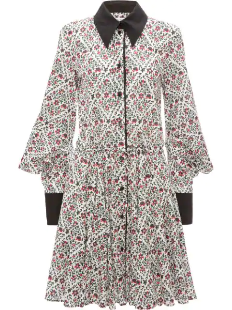 Jw Anderson Floral Print Square Sleeve Dress In Green