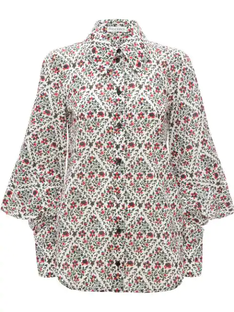 Jw Anderson Floral Print Square Sleeve Shirt In Green