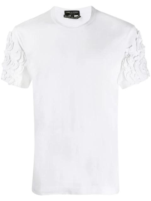 Pre-owned Comme Des Garçons Ruffle Appliqués T-shirt In White