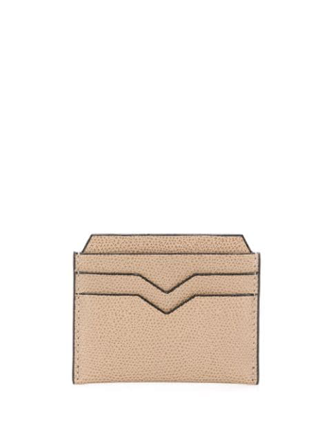 Valextra V-detail Leather Card Holder In Neutrals