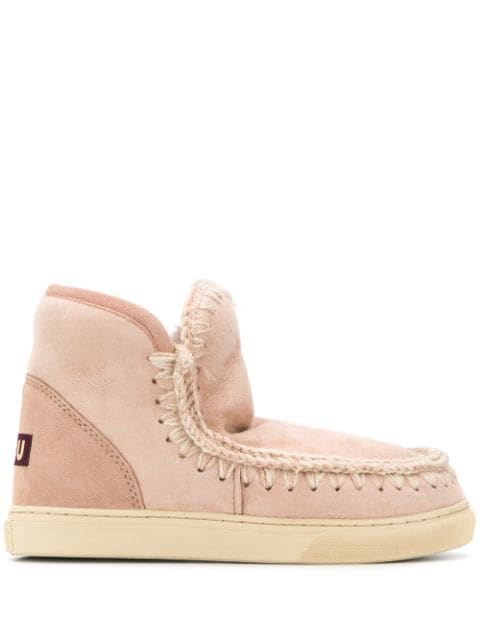 Mou Lined Interior Ankle Boots In Pink