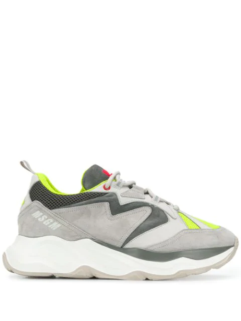 Msgm Chunky Mesh & Suede Sneakers In Grey