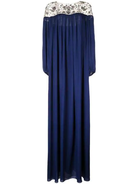 Marchesa X Ramadan Embroidered Kaftan Dress In Blue