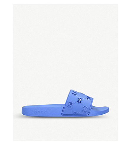 Gucci Pursuit Gg Cutout Rubber Sliders In Blue