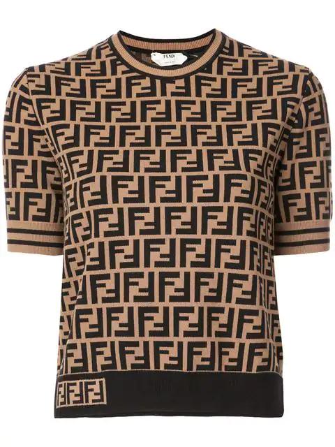 Fendi Crewneck Short-Sleeve Ff Logo T-Shirt In Brown
