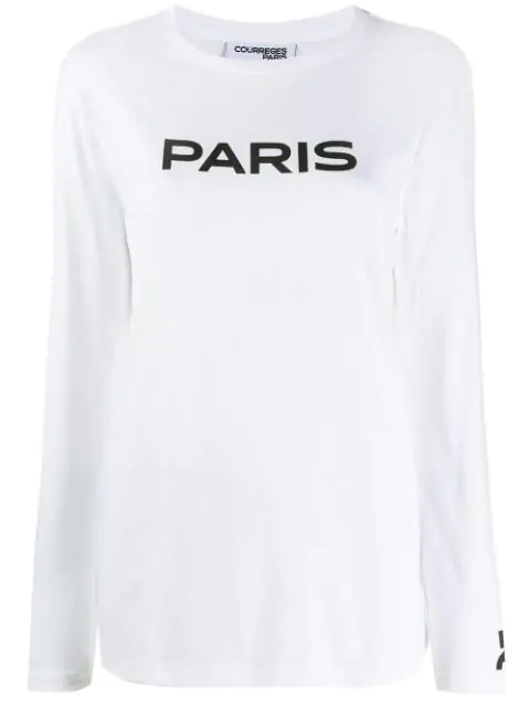 CourrÈGes Word-Print Long Sleeved T-Shirt In White