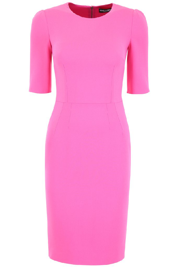 Dolce & Gabbana Sleeved Midi Dress In Pink