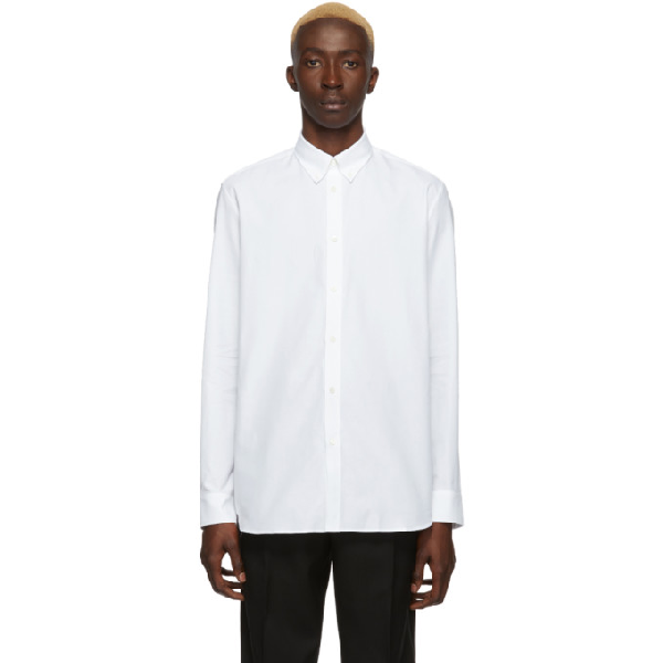 Givenchy Distressed-logo Panelled Cotton-poplin Shirt In 100 White
