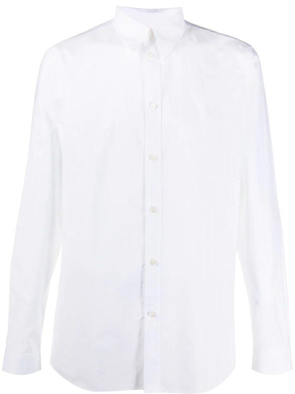 Givenchy Distressed-logo Panelled Cotton-poplin Shirt In White